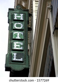 Sign on restored Victorian era hotel