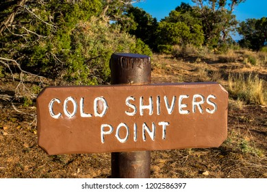 Sign on Rim Rock Drive marking the pullout for Cold Shivers Point is a spectacular lookout spot at Colorado National Monument near Grand Junction