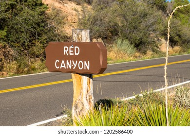Sign on Rim Rock Drive marking the pullout for Red Canyon, which offers a magnificent view of Colorado National Monument near Grand Junction