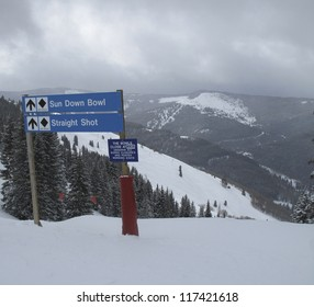 Sign on the ski slopes in Vail, Colorado