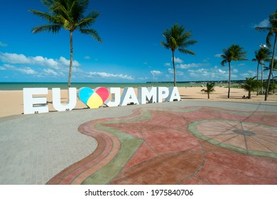 "Sign on Tambau beach, which says ""I love Jampa"", in Portuguese, João Pessoa, Paraiba, Brazil on March 9, 2016."
