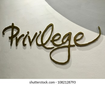 A sign on a wall that says Privilege