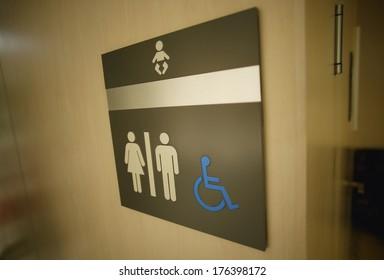 Sign On A Washroom Door