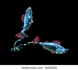 Sign on zodiac constellation The Fishes (Pisces)
