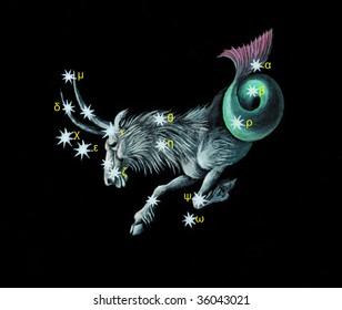 Sign on zodiac constellation The Sea Goat (Capricorn)