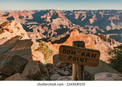 A sign of OOH AAH Point on the South Kaibab Trail in the Grand Canyon at Grand Canyon National Park in Arizona