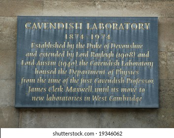 Sign outside Old Cambridge Cavendish Laboratory
