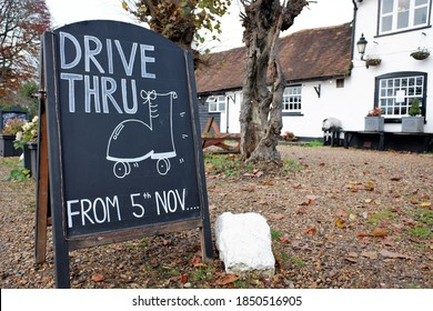 Sign outside pub advertising drive through meals during the UK's second Covid-19 lockdown which began on 5th November 2020