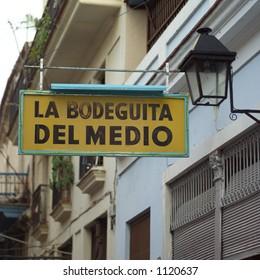 Sign outside restaurant, Havana Cuba