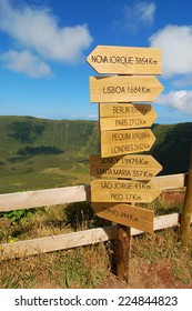 Sign over the volcano in azores, Fayal, portugal