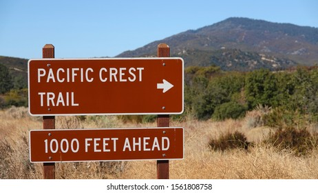Sign for the Pacific Crest Trail in Cleveland National Forest. Hot and dry conditions and high elevations make this stretch a challenging hike.