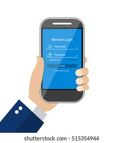Sign in page in account managment on smartphone screen. secure log in, web site, cloud drive. illustration in flat design Raster version
