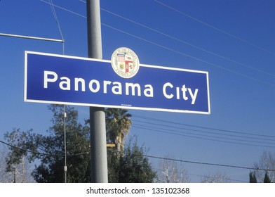 A sign for Panorama City, California