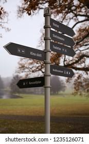 A sign in the park at Drottningholm Palace, Stockholm Sweden.