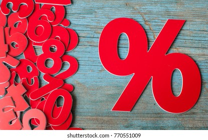 Sign, percent symbol discount on wooden table
