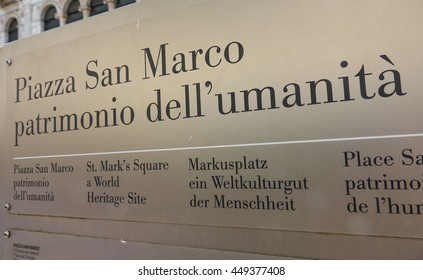 Sign Piazza San Marco - St Marks Square in Venice - VENICE, ITALY - JUNE 28, 2016