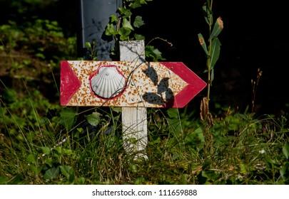 Sign for the pilgrim of Saint Jacques de Compostelle in Aubrac, France