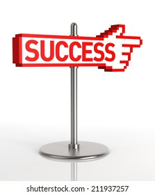 A sign pointing to the road to success. Digitally Generated Image. 3D Rendering