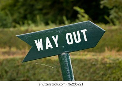 Sign pointing the way out with clipping path