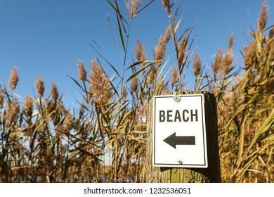 A sign points to a public beach in Queen Anne's County on Kent Island, Maryland during the autumn months.