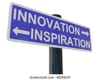 a sign post with directions to innovation and inspiration