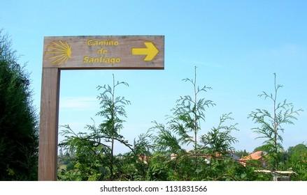 Sign post indicating to pilgrims the direction to walk in Saint Jacob way, Camino de Santiago, Spain