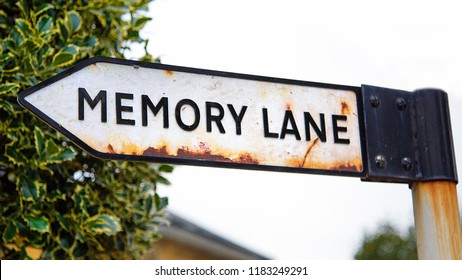 Sign post to Memory Lane - conceptual image of progressive dementia in a panoramic format.