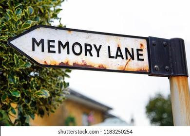 Sign post to Memory Lane - conceptual image of progressive dementia.