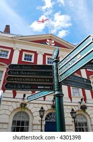 Sign post outside of York Mansion House. York, North Yorkshire, UK.