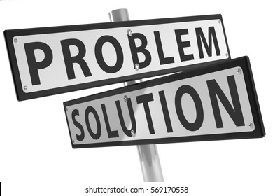Sign post with problem and solution isolated on a white background