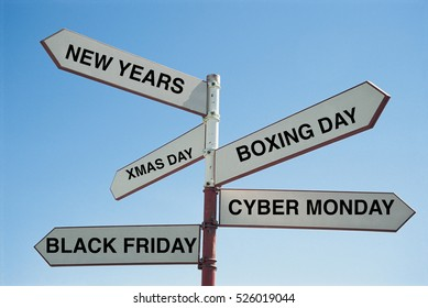 Sign Post saying the various major shopping days in the year