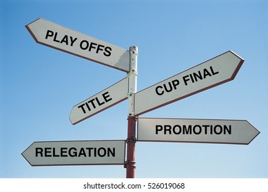 Sign Post saying the various options that a football team has this season