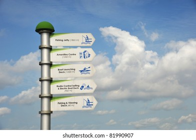 Sign Post Showing Distances To Different Facilities In The Park