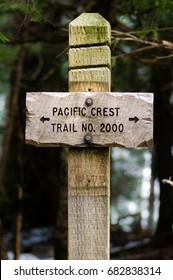 Sign post for trail 2000 Pacific Crest Trail in the Mt Hood National Forest