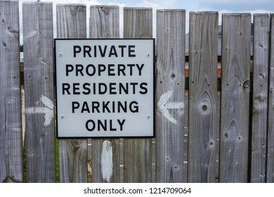 Sign - Private property residents parking only