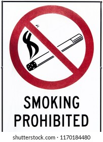 The sign prohibiting smoking found on a street in Hobart town (Tasmania).