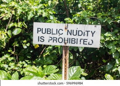 Sign of Public nudity is prohibited