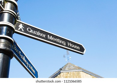 A sign for a quaker meeting house in Bury St Edmunds UK