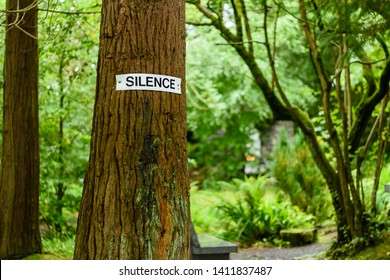 Sign reminding visitors for silence at the Tobarnalt Holy Well, County Sligo, Ireland