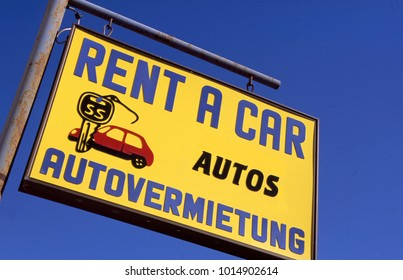 Sign for rent-a-car and in German autovermietung