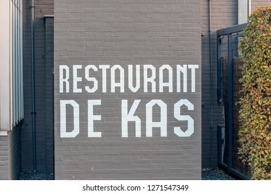 Sign From Restaurant De Kas At Amsterdam The Netherlands 2018