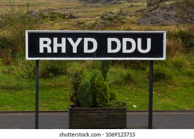 The sign at restored station of Rhyd Ddu, on the Welsh Highland Railway Line, North Wales, United Kingdom