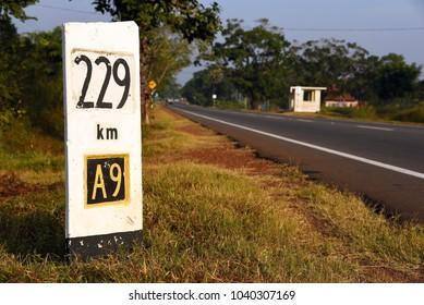 Sign of road A9,Sri Lanka
