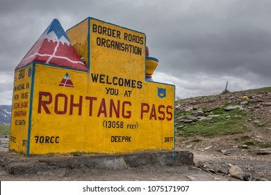 Sign at Rohtang Pass on the Manali to Leh road across the Himalayas in Himachal Pradesh, India