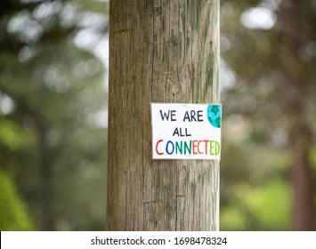 Sign round in park for community encouragement during Corona Virus Pandemic