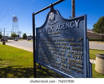 Sign Sac and Fox Agency Oklahoma at Route66 - STROUD / OKLAHOMA - OCTOBER 16, 2017