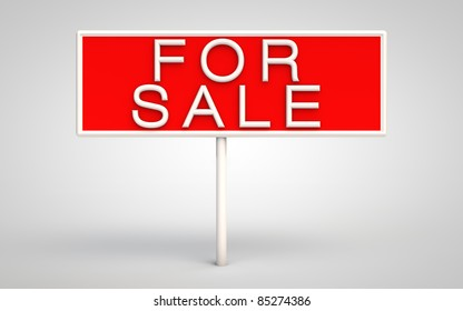 Sign with for sale written on red surface