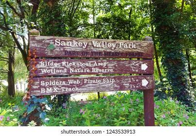 Sign at sankey valley public park warrington town England.