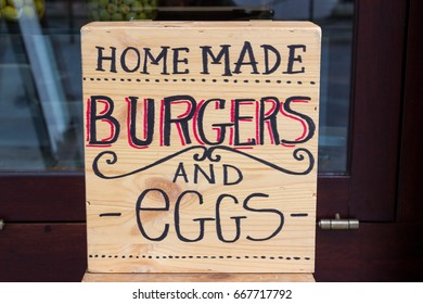 Sign Saying Homemade Burgers and Eggs