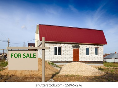 sign saying for sale on the background of the house
